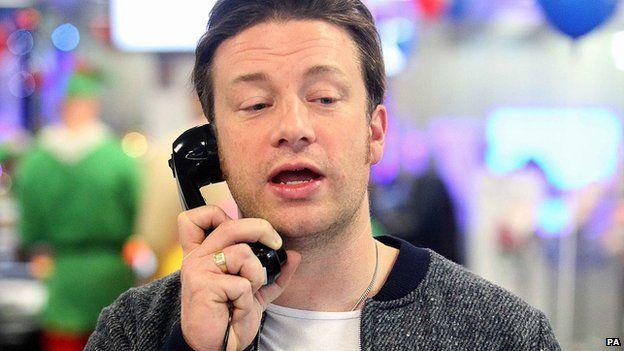 Jamie Oliver on the phone