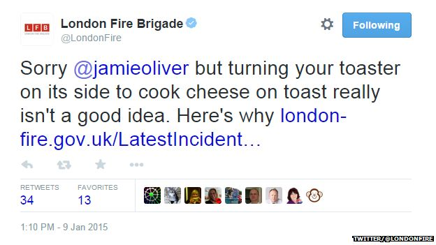 """Tweet from @LondonFire reading: """"Sorry @jamieoliver but turning your toaster on the side to cook cheese on toast really isn't a good idea. Here's why: [link]"""""""