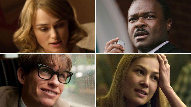 British Oscars hopefuls (clockwise from top left): Keira Knightley, David Oyelowo, Rosamund Pike and Eddie Redmayne