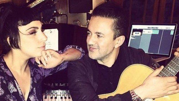 Lady Gaga and RedOne in studio