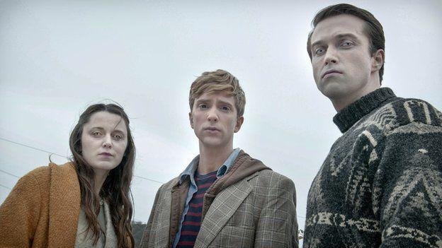 Amy (Emily Bevan), Kieren (Luke Newberry) and Simon (Emmett J Scanlan)