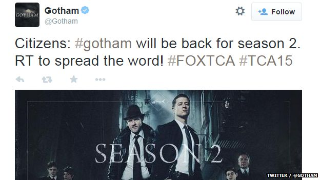 Tweet from official Gotham account announcing a second series