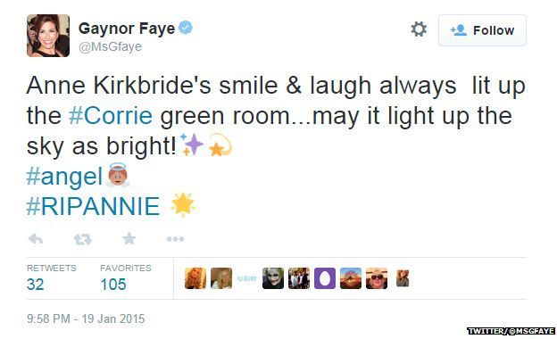 "Tweet from @MsGfaye reading: ""Anne Kirkbride's smile & laugh always lit up the #Corrie green room...may it light up the sky as bright! #angel #RIPANNIE"""