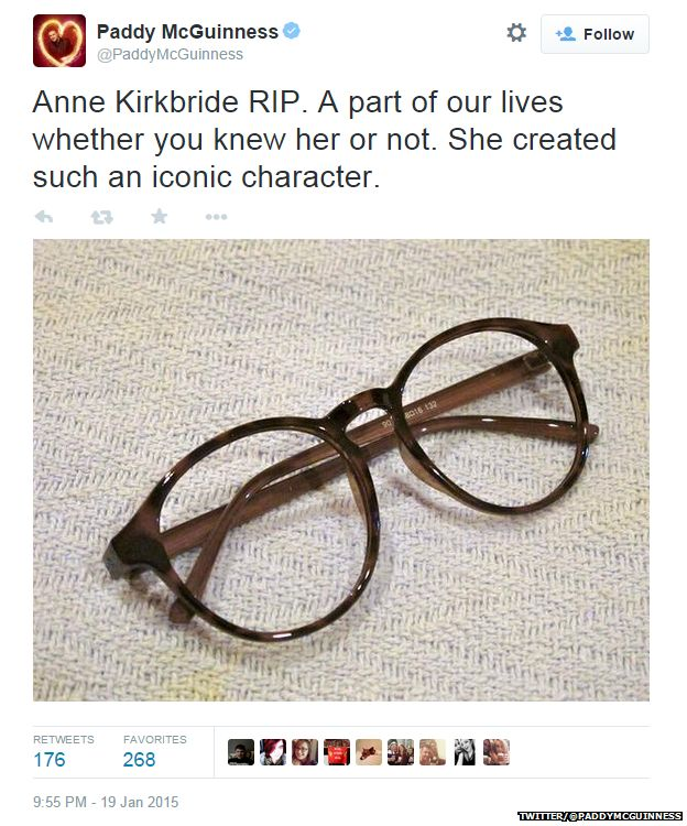 "Tweet from @PaddyMcGuinness showing a picture of some spectacles and reading: ""Anne Kirkbride RIP. A part of our lives whether you knew her or not. She created such an iconic character."""