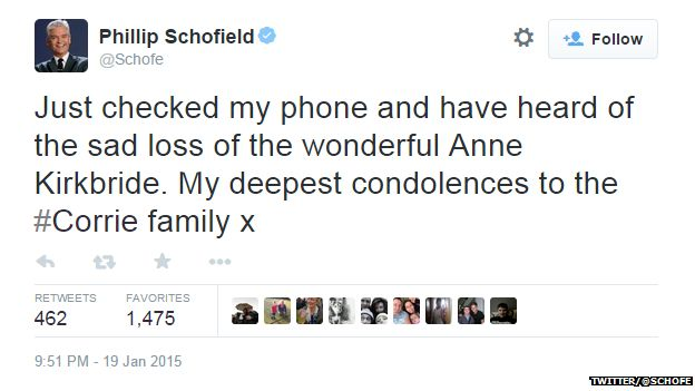 "Tweet from @Schofe reading: ""Just checked my phone and have heard of the sad loss of the wonderful Anne Kirkbride. My deepest condolences to the #Corrie family x"""