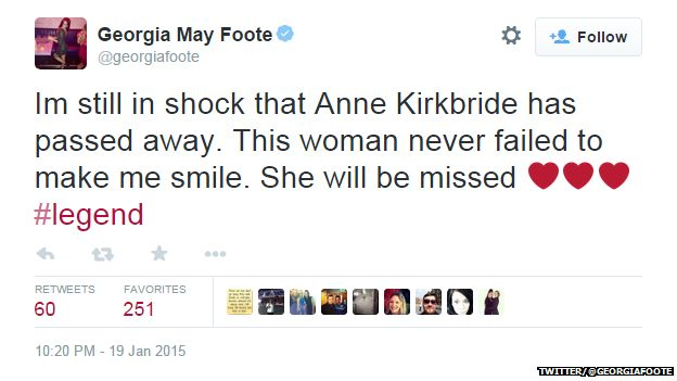 "Tweet from @georgiamayfoote reading: ""I'm still in shock that Anne Kirkbride has passed away. This woman never failed to make me smile. She will be missed #legend"""