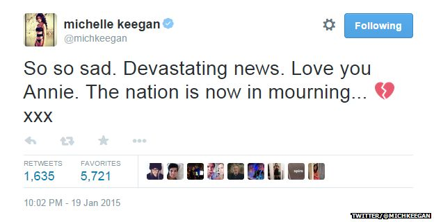 "Tweet from @michkeegan reading: ""So so sad. Devastating news. Love you Annie. The nation is now in mourning... xxx"""