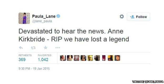 "Tweet from @Paula_Lane reading: ""Devastated to hear the news. Anne Kirkbride - RIP we have lost a legend"""