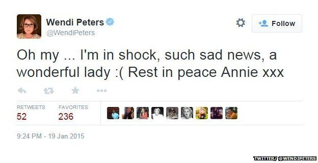 "Tweet from @WendiPeters reading: ""Oh my ... I'm in shock, such sad news, a wonderful lady: (Rest in peace Annie xxx"""