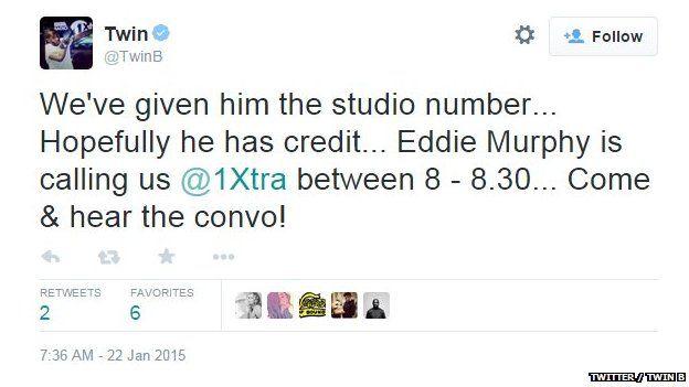 A Tweet about Eddie Murphy from Twin B