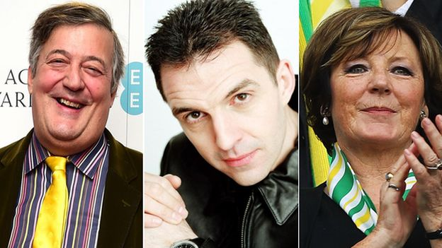 Stephen Fry, Tim Westwood and Delia Smith