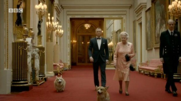 The Queen with James Bond in a sketch for the Olympics opening ceremony
