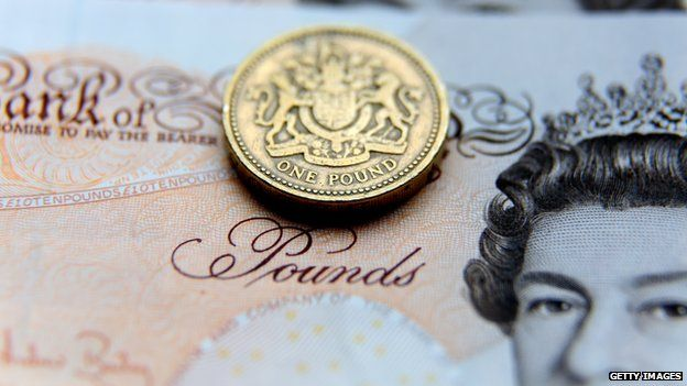 Pound coin and £10 note