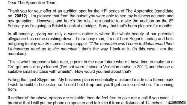 Phil Lucas rejection letter to The Apprentice bosses