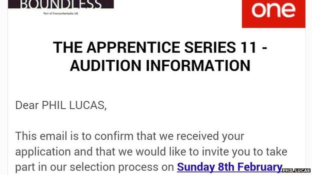 Audition letter from The Apprentice