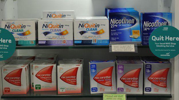 Smoking cessation products on a shelf