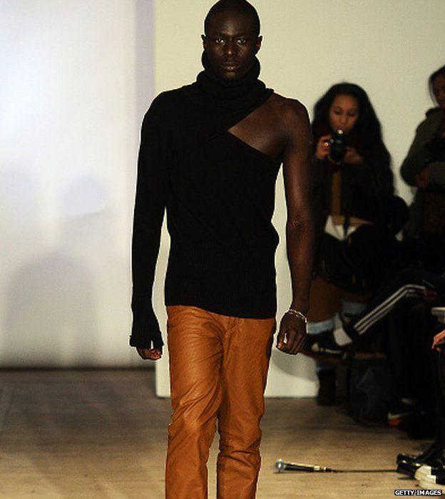 A model walks the runway at the Teflar show