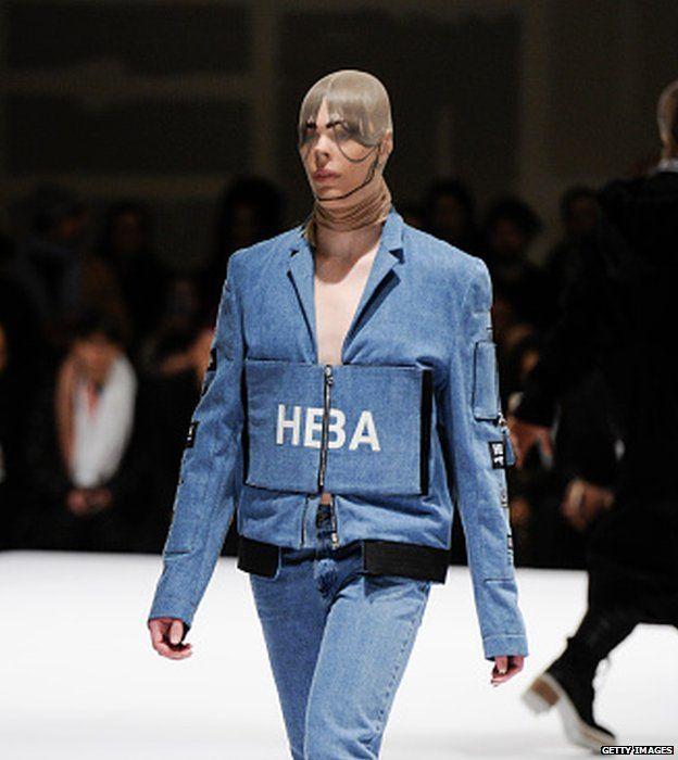 Model walks the runway for Hood by Air at Fall Studios