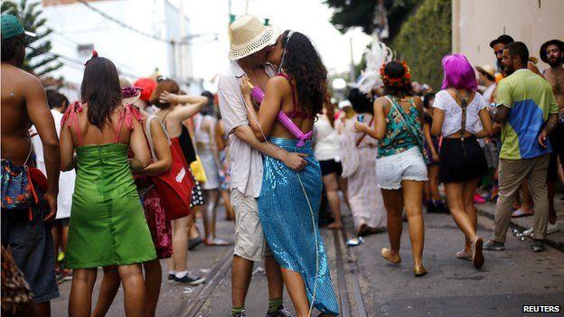 People kissing in Brazil