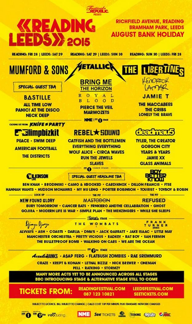 Reading and Leeds line-ups
