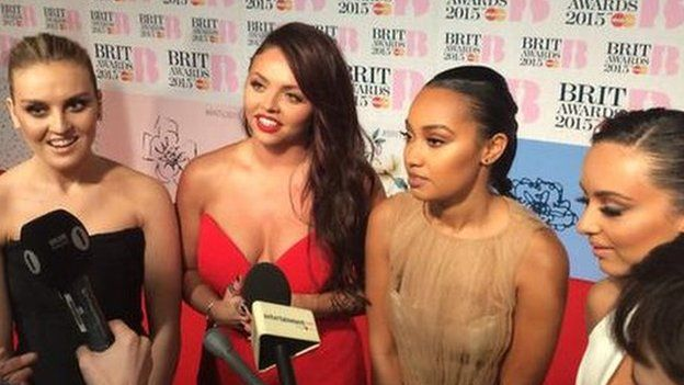 Little Mix on the red carpet at the Brit Awards