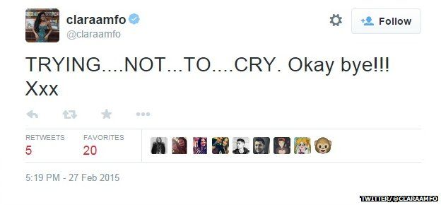 "Tweet from @claraamfo reading: ""TRYING...NOT...TO...CRY. Okay bye!!! xxx"""
