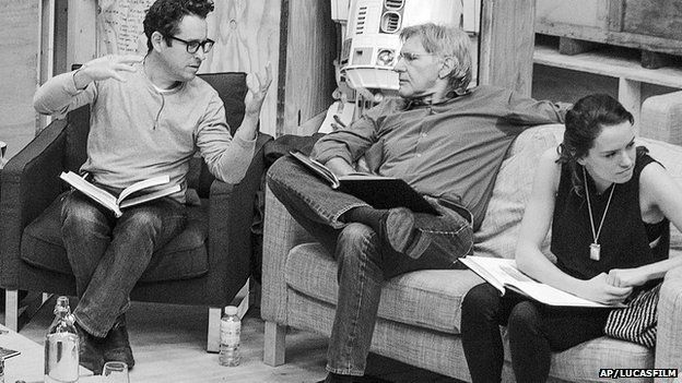 JJ Abrams and Harrison Ford