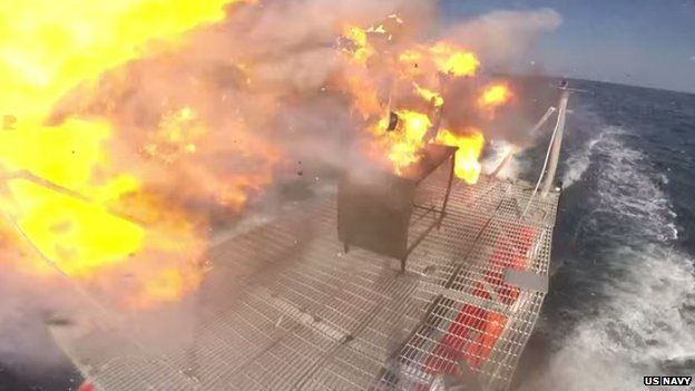 Footage of the speedboat bursting into flames was posted online