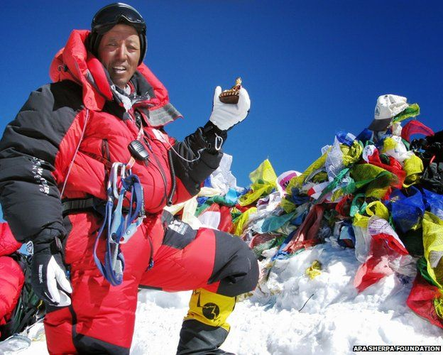 Apa Sherpa at the summit of Mount Everest
