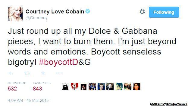 Courtney Love's anti D&G tweet