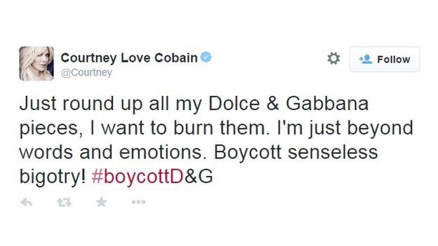 Courtney Love Cobain responds to D&G comments