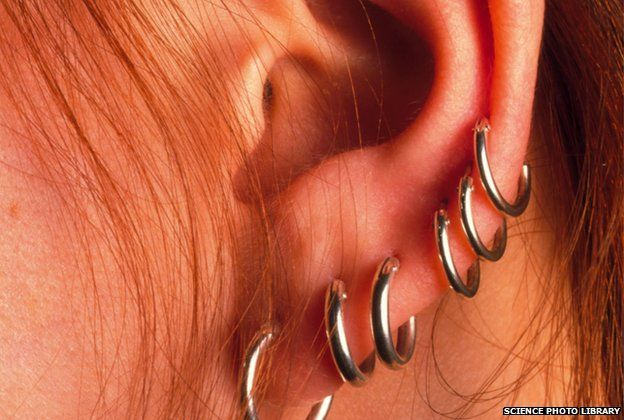 Ear with multiple piercings