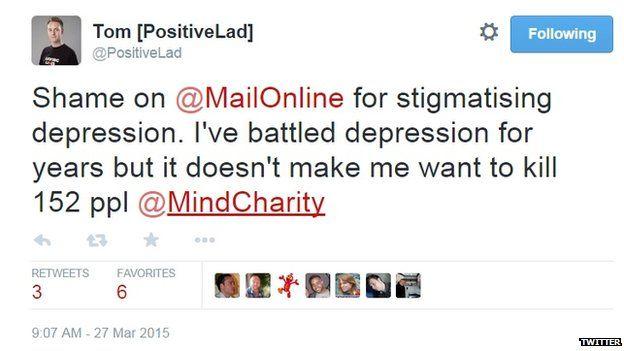 "@Postivelad said: ""Shame on Mail Online for stigmatising depression."""