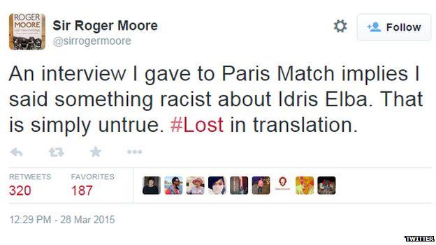 Tweet from Sir Roger Moore