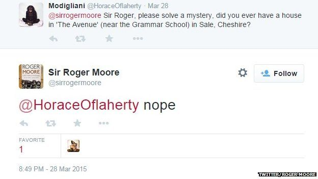 Roger Moore tweet about house in Sale