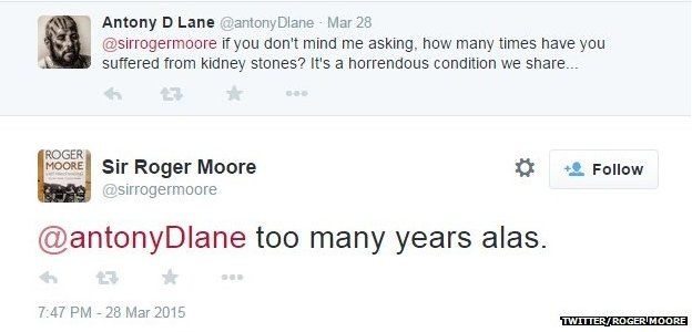 Roger Moore tweet on kidney stones