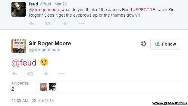Roger Moore tweet about Spectre trailer