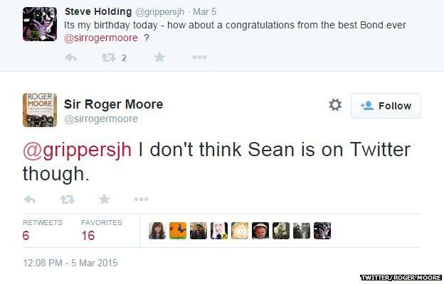 Roger Moore tweet about best Bond ever