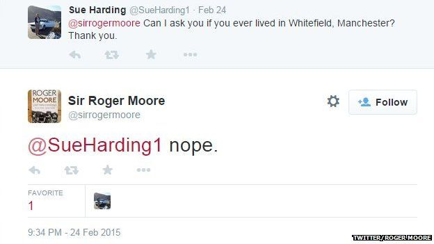 Roger Moore tweet on Whitefield in Manchester