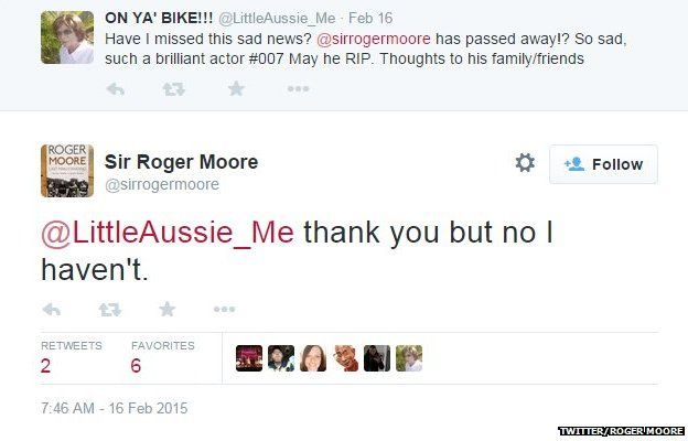 Roger Moore tweet on not passing away