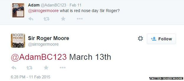 Roger Moore tweet about Red Nose Day