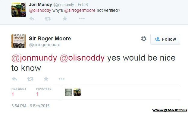 Roger Moore on not being verified