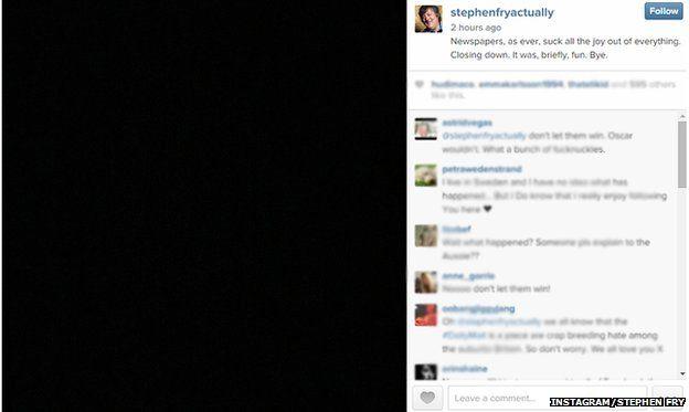 Stephen Fry's final message on Instagram