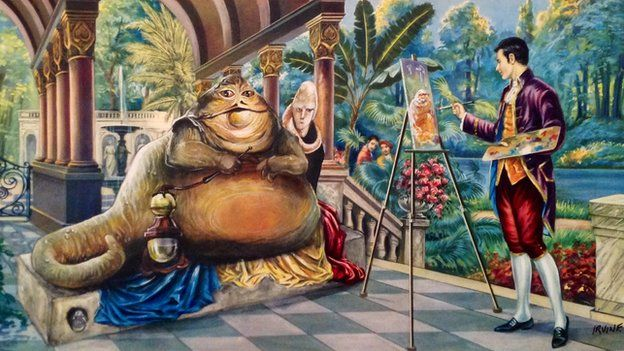 David reworked this picture to show an artist at his easel painting a large green creature