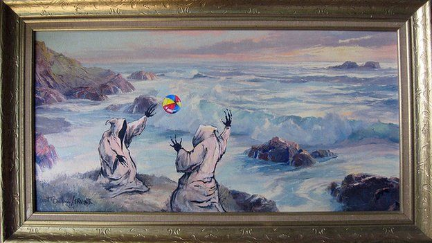 The grim reapers play beach ball by a stormy sea