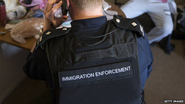 Immigration officers during a raid