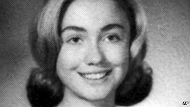 Image caption Born Hillary Diane Rodham in Chicago, Illinois, in October 1947, she attended local schools before graduating from Wellesley College and Yale ... - _64112124_hi000318559