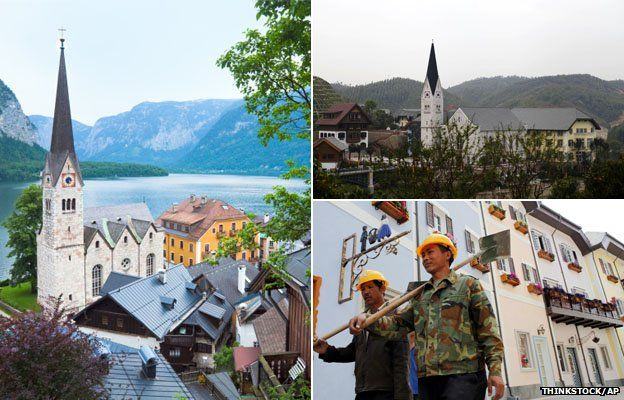 Hallstatt in Austria (l), and the replica in China (r)