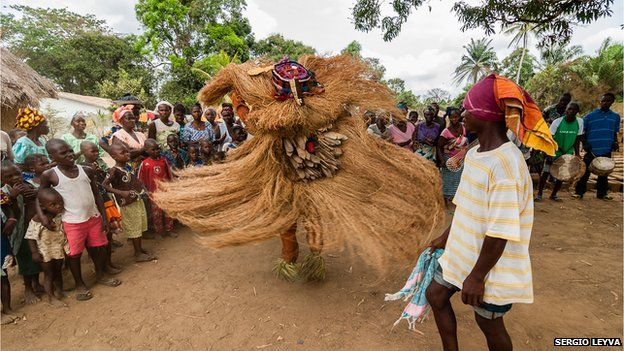 Traditional dance in straw costume in in Mokpangumba