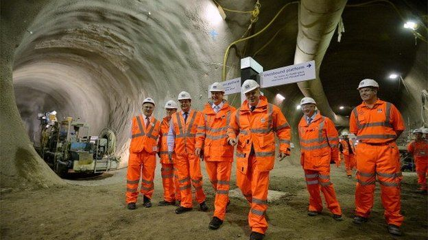 Crossrail workers in the tunnel